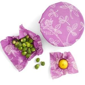 Image of   Bee's Wrap 3-pak Startpakke - Clover Print Mimi's Purple