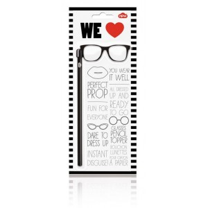 Image of   Pencil Topper Black Glasses