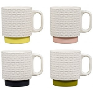 Image of   Stacking Mugs Set Of 4 Flower